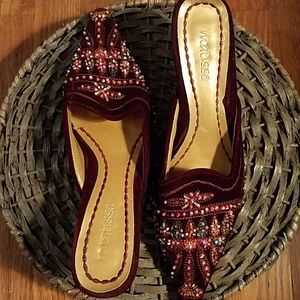 Deep red maroon velvet beaded mules